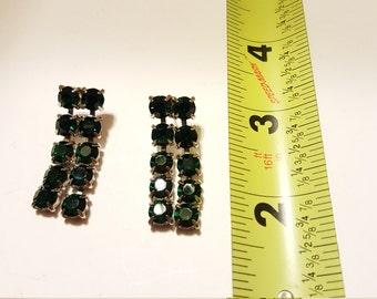 Vintage Green Rhinestone Post Earrings