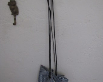 "18"" Wide Open Striped Blue/White Drawstring Purse #4"