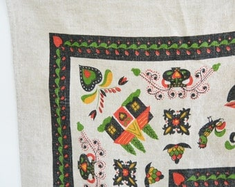 Lovely Linen Small Square Table Cloth // Simple Vintage // Dutch Pattern