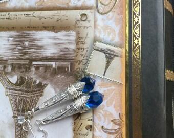 SALE- Sapphire teardrop earrings by ashley3535