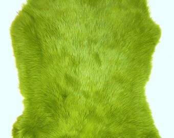Rabbit Pelts Hides Fur Dyed Lime Green