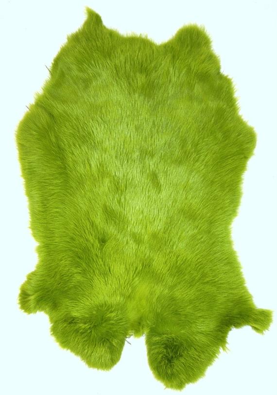 rabbit pelts hides fur dyed lime green. Black Bedroom Furniture Sets. Home Design Ideas