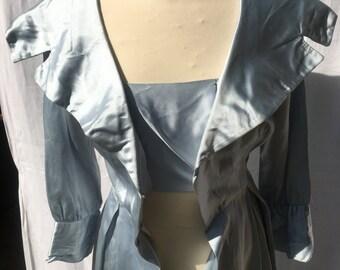 50s Pale Blue Shawl Collar Dress Paris
