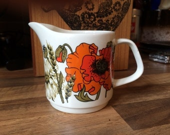 Meakin Jug with Orange Poppy and Daisy design