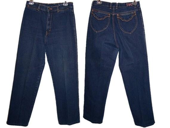 Vintage High Waisted Blue Jeans, Women's Size 12 Jeans, Britannia Jeans, Retro Jeans, 80s Jeans, Vintage Jeans, Denim Pants, Grunge Jeans