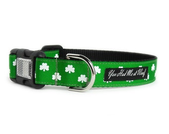 St Patricks Day Dog Collar, Shamrock Dog Collar, Irish, Green Dog Collar, Can be Personalized, Dog Collar for Girl or Boy- Luck of the Irish
