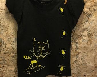 long sleeve t-shirt, unisex kids shirt, hipster children, kitty mouse, 100% cotton black shirt