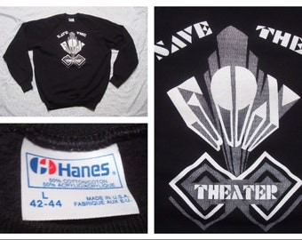 Vintage Retro Men's Hanes Black Sweatshirt Save the Fox Theater Tucson Large Made in the USA