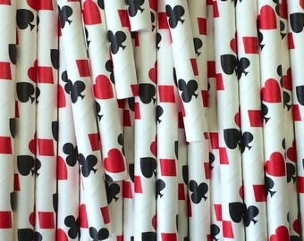 25 Casino Poker Paper Straws - Games - Party Decorations Supplies Tableware
