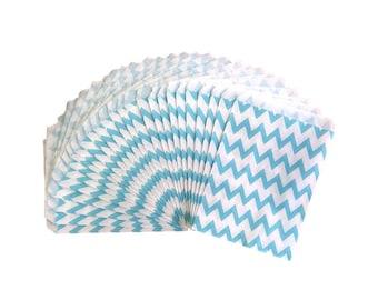 Light Blue Chevron Stripe Paper Treat Bags, Party Favor Bags, Party Supplies