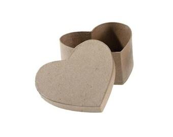 Paper Mache Heart Shaped Cardboard Box - 4.5 Inch - Valentine's Day Craft Supplies