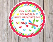 Printable Personalized Valentines Stickers-Tags-Classroom favor- you print