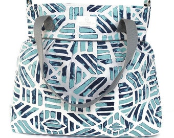 Turquoise and Navy Geometric Diaper Bag  - Stroller Bag - Bags and Purses - Baby Bag