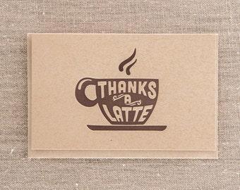 Thanks a Latte Kraft Letterpress Greeting Card