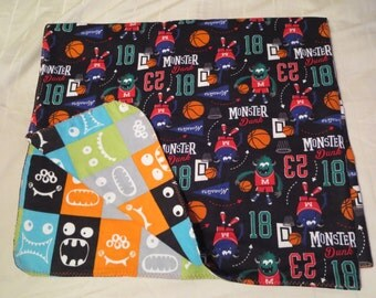 Monster Basketball Flannel Baby Blanket - Double Sided - Receiving Blanket (B4)