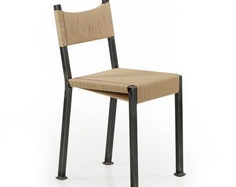 Single Industrial Handmade Tumbled Steel Side Chair, 16M1TDNP
