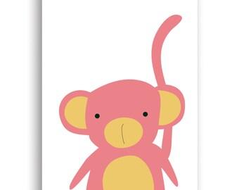 Instant Download PDF file Nursery Decor, Nursery Art Print, Nursery Wall Art, Playroom Decor,  Pink Monkey Print
