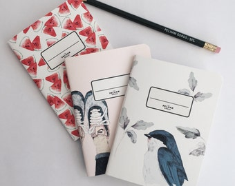 Dani Dahf Collection - Illustration 3 Pocket Notebooks - Journal - Sketchbook - Blank pages - Lined pages - Green Dots pages