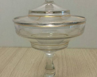 Mid Century Art Deco inspired Candy Dish Compote with lid REDUCED from 35.00