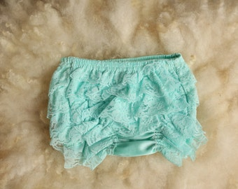 Aqua Ruffle Bloomer, Tutu, Couture, Diaper Cover, newborn photography prop