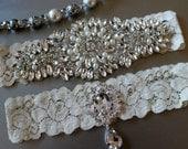Wedding Garter , Crystal Garter Set , Lace Bridal Garter , Wedding Garter Set  , Garter , Rhinestone Applique Garter
