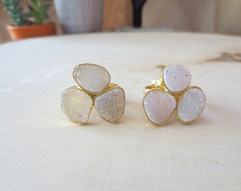 Druzy ring, druzy gold ring, size 7 druzy ring, light colored druzy ring, triple druzy ring, druzy band ring