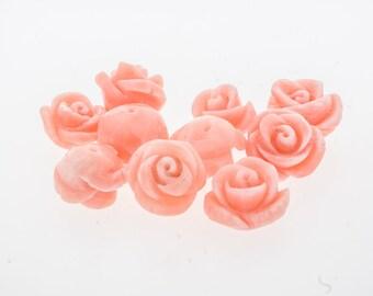 11mm Salmon Pink Angelskin coral, half drilled carved rose.