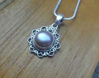 Unique Pearl Necklace, Pearl Bezel Necklace, Fused Fine Silver and Freshwater Pearls