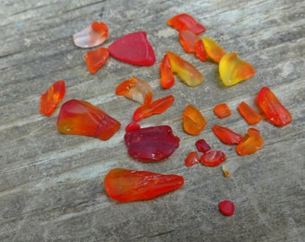 Small Lot - Small to Tiny Amberina Urban Glass Pieces - Tumbled - Red Orange Yellow Glass
