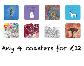 Any 4 Coasters For Just 12 Pounds - A Selection of Unique Arty And Funny Drinks Coasters