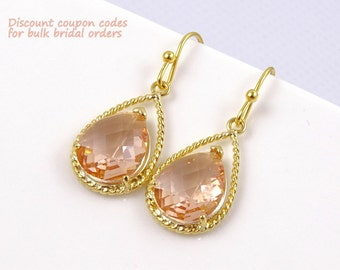 Champagne Earrings, Blush Wedding Jewelry, Gold Peach Earrings, Bridesmaid Gift, Maid of Honor Gift, Blush Wedding Earrings, Bridal Jewelry