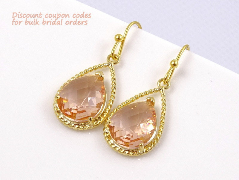 Champagne earrings blush wedding jewelry gold by crystalshadow for Jewelry for champagne wedding dress