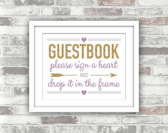 INSTANT DOWNLOAD - Printable Wedding Drop Top Heart Guestbook Guest Book Sign - Digital Files 8x10 Gold Glitter Effect Lavender Lilac Purple
