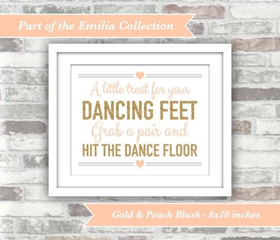 INSTANT DOWNLOAD - Emilia Collection - Printable Wedding Flip Flops Sign A Little Treat Dancing Feet - 8x10 Digital File - Gold Peach-Blush