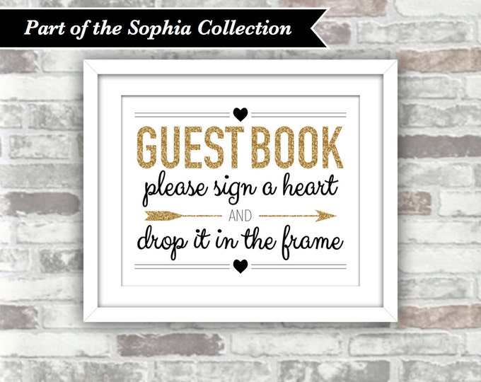 INSTANT DOWNLOAD - Printable Wedding Drop Top Drop Box Heart Guestbook Sign - SOPHIA Collection - Gold Glitter Black - Digital Files 8x10