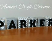 Personalized Baby Blocks White with Gray 2 Inch Name Wooden Letters for Nursery Decor- Newborn-Maternity Photo Prop-Shower Gift- Birthday