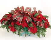 Beautiful XL Red Poinsettia's Available in 3 Inch Vase or Headstone Saddle
