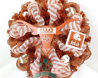 University of Texas Longhorn Burnt Orange and White Deco Mesh Door Wreath