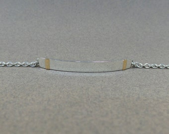 Id Bracelet/ Sterling Silver and 18k Yellow Gold Id Bracelet