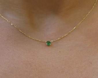 Emerald Pendant/ 14k Yellow Gold Natural Emerald 0.25ct Solitaire Necklace/ Columbian Natural Emerald 0.25ct 14k Yellow Gold Necklace