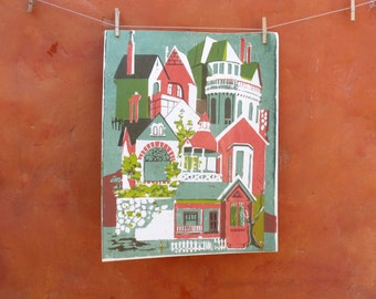 Vintage Mid Century Modern Serigraph Graphic Art PRINT Landscape Houses city cityscape picket fence victorian house