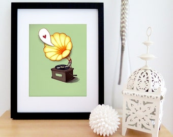 Vintage poster of gramophone with a heart | green and yellow drawing | illustrated retro poster for music lovers | wall art 8'' X 10''