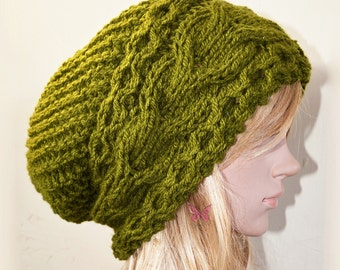 Slouchy cable mix style beanie hat - OLIVE Green - womens - baggy - chunky - slouch - gift - vegan friendly