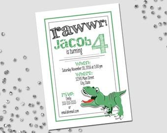 Dinosaur Birthday Party Invitation - Dinosaur Party - Little Dino - Green Black and Grey - Printable