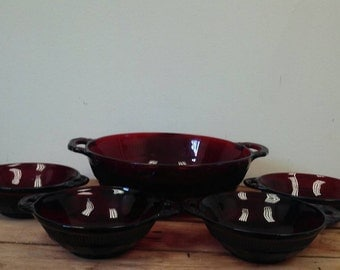 Antique Anchor Art Deco Ruby Red Serving and Berry Bowls Set of 5