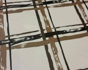 Mid Century Modern Brown and Black Plaid Pattern Wallpaper