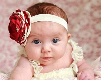 burgundy Baby Headband/Baby Girl Headband/Newborn Headband/Christmas baby Headband/Girl Headband Baby/Baby Bows/cranberry/burgundy/ivory