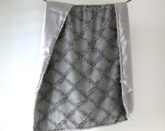 LUX Baby Blanket, Gray Minky with Gray Silky Satin Charmeuse