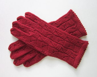Wool Gloves  Hand Knit Gloves  Red Gloves for Women Womens gifts Wool Womens Gloves Spring Accessories Red Lace GlovesWool Lace Gloves