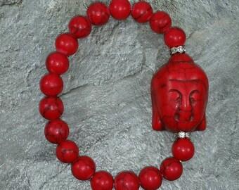 Red Buddha Bracelet Buda Bracelet Siddhartha Bracelet Meditation Bracelet Monk Bracelet Red Yoga Bracelet Gautama Buddah Red Head Bracelet